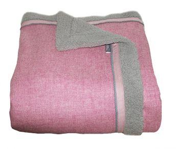 Roze wollen woondeken / plaid 205 x 150 cm