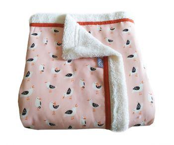 Kinder roze woondeken of plaid met meeuwen 160x145 cm