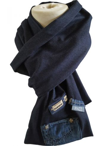 Stoere jeans sjaal met applicatie Fashion