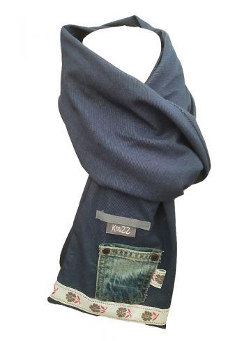 Stoere jeans sjaal met retro band