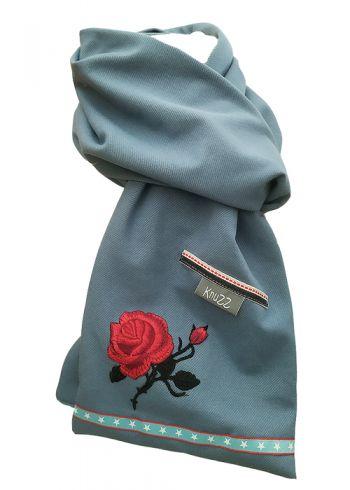 Stoere jeans sjaal met rode roos en sterren