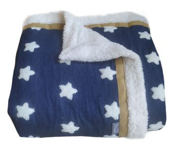 Woondeken plaid denim blauw witte ster 200x150 cm