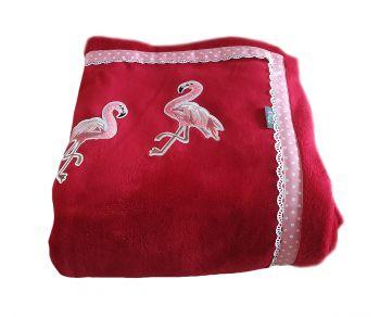 Lente woondeken / plaid rode fleece 195 x 140 cm