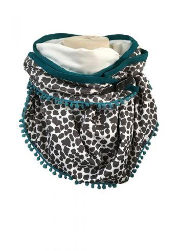 Sjaal met panterprint en blauwe bolletjesband