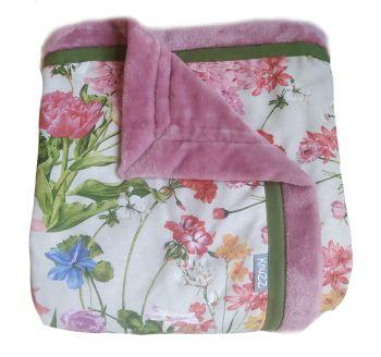 Woondeken plaid ecru roze gebloemd 190x140 cm
